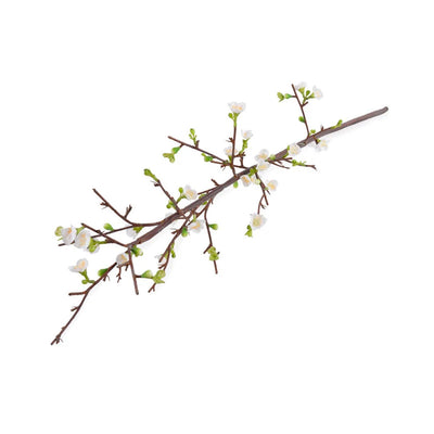 Faux quince branch with white flowers.
