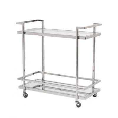 Luxurious polished chromed bar cart with two shelves and wheels.