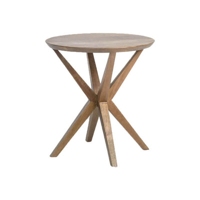 The Maribor Side Table is made of solid mango wood in a brindled ash finish with an angular base and round top.