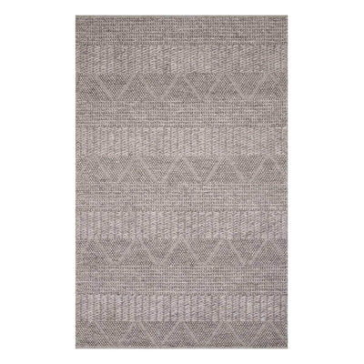 The Andes Ash Rug is a hand-woven rug in a dark grey coloured geometric pattern.