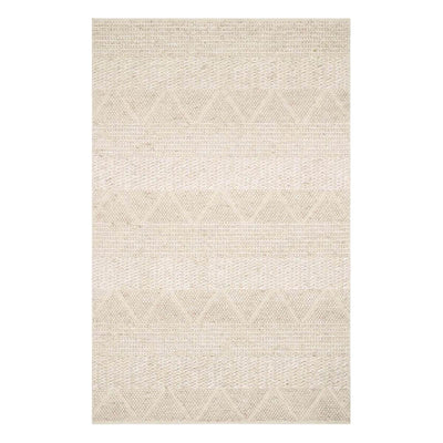 The Andes Sand Rug is a sand coloured textured rug with a geometric pattern.
