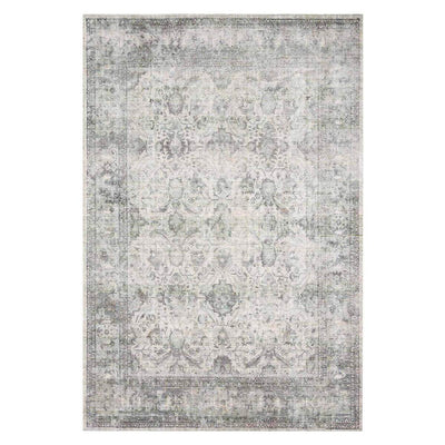 Reyes Mist Rug. Silver and blue hand woven rug with a vintage, lived in look.