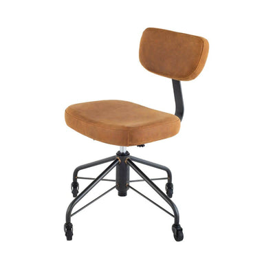 Office Chair with an industrial modern chair with a brown leather, fully adjustable seat and black steel legs with castor feet.