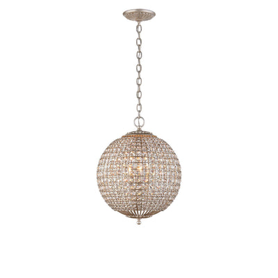 The Dover Small Sphere Chandelier is a round globe chandelier with crystal beads and burnished silver leaf chain attachment and hardware.