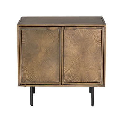Glam, metal nightstand in an aged brass finish with 2 doors with an etched starburst pattern and gun-metal finished iron legs.