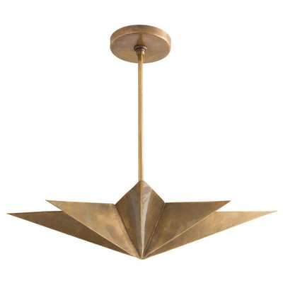 The Tarragona Pendant is a statement office pendant with a star shape and antique brass finish.