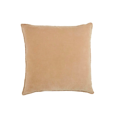 "Front of 26""x26"" square pillow in a 100% cotton, light tan cover."