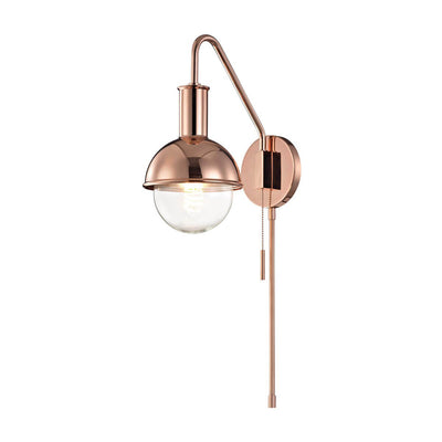 The Minsk Wall Sconce a polished copper finish and modern, round shape.
