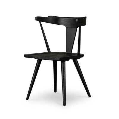 Modern Windsor Chair with rounded back and solid wood frame in a black oak finish.