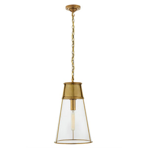 Large conical pendant light with clear glass. Hand-rubbed antique brass.