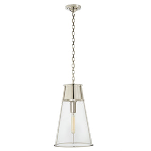 Large conical pendant light with clear glass. Polished nickel.