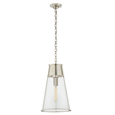 Large Robinson Pendant with clear glass. Polished nickel.