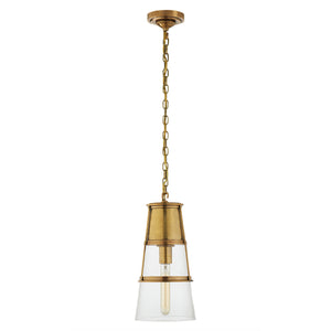 Medium conical pendant light with clear glass. Hand-rubbed antique brass.