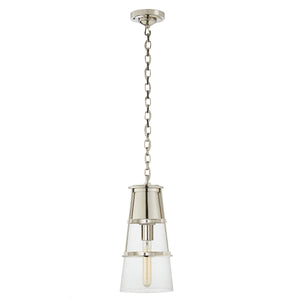 Medium conical pendant light with clear glass. Polished nickel.