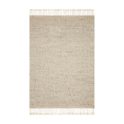 Contemporary handwoven rug. Made of wool, polyester, and nylon. A mix of neutrals and denim tones that offer a bohemian, minimalist look. Top view photo.
