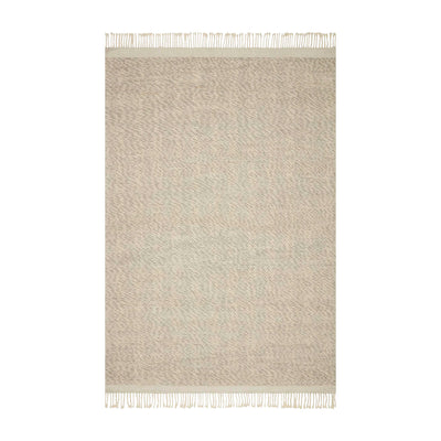 Contemporary handwoven rug. Made of wool, polyester, and nylon. A mix of white and grey tones that offer a bohemian, minimalist look. Top view photo.