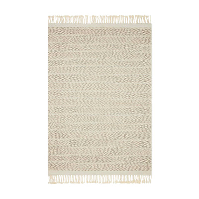 Contemporary handwoven rug. Made of wool, polyester, and nylon. A mix of white and natural tones that offer a bohemian, minimalist look. Top view photo.