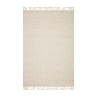 Contemporary handwoven rug. Made of wool, polyester, and nylon. A mix of white tones that offer a bohemian, minimalist look. Subtle diamond pattern. Top view photo.