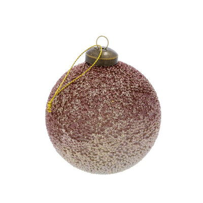 The Rose Bead Ornament is a blush coloured glitter Christmas ornament.
