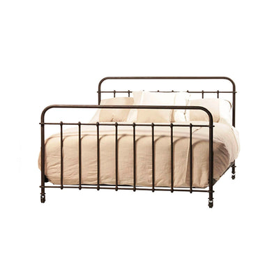 A classic iron bed on coaster in a distressed metal finish.