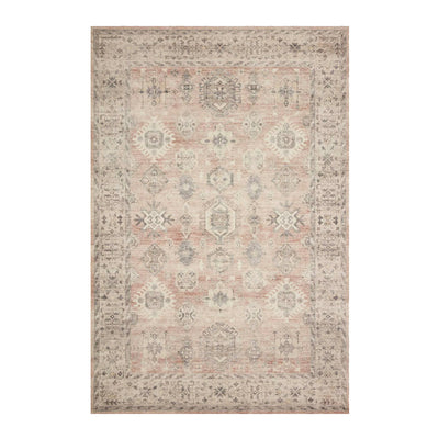 Muted toned rug with traditional patterning.