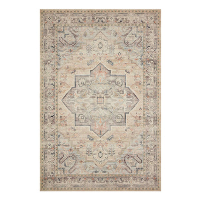Ivory and multicoloured muted toned rug with 100% polyester pile.