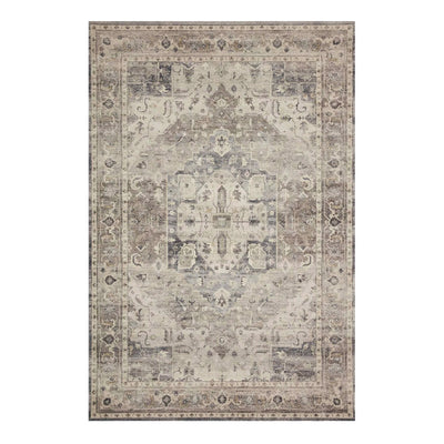 Steel and Ivory toned rug, power-loomed and made of 100% polyester.