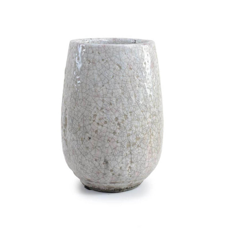 The Palenque Vase is a tall, round flute vase with a white / blush crackle finish.