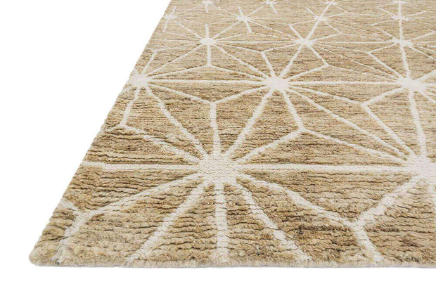 White and light brown ethnic patterned rug made from jute and wool.