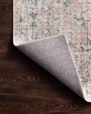 Lucerne Blush / Grey Rug backing. Printed rug. Powerloomed Turkish rug. Traditional patterned rug.
