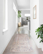 Lucerne Blush / Grey Rug runner option in a hallway.