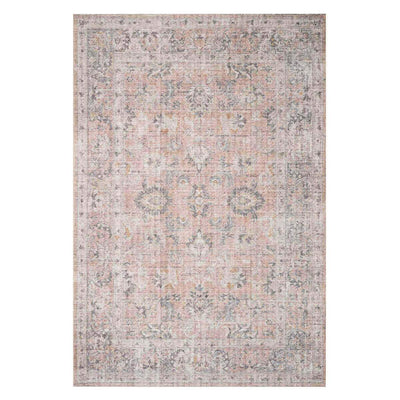 Lucerne Blush / Grey Rug. Affordable traditional rug. Power loomed, polyester rug.