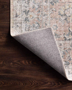 Lucerne Grey / Apricot Rug back. Printed Turkish rug. Grey and apricot patterned rug.