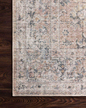 Lucerne Grey / Apricot Rug. Printed Turkish rug. Grey and apricot patterned rug.