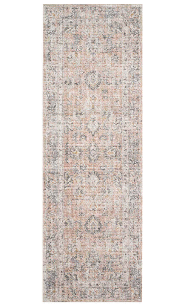Grey and apricot runner with a classic pattern.