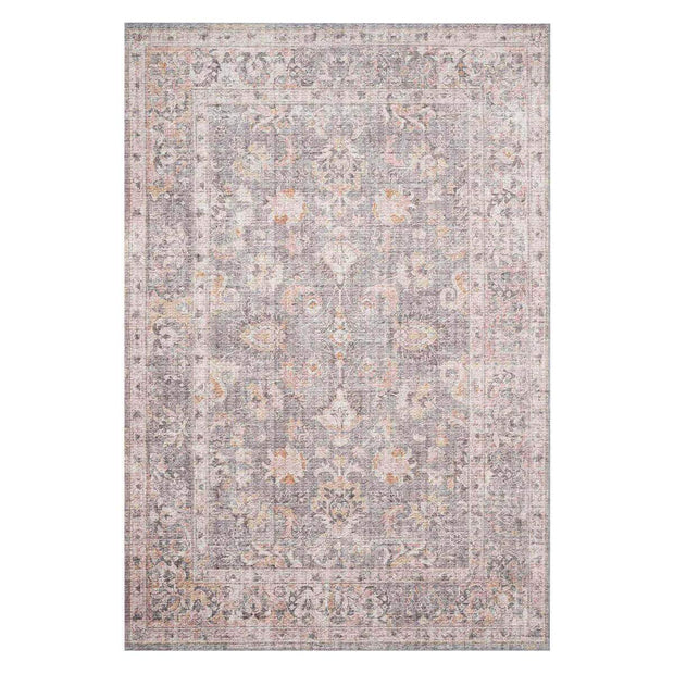 Lucerne Grey / Apricot Rug. Distressed traditional patterned rug. Printed Turkish rug.