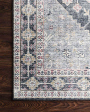 Lucerne Charcoal / Multi Rug. Traditional pattern rug. Printed rug.