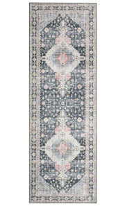 Traditional charcoal and multicoloured runner with a vintage inspired pattern.