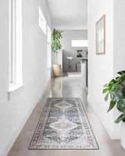 Lucerne Charcoal / Multi Rug runner option in a hallway.