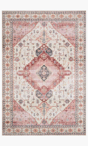 Berry and cream patterned polyester rug.