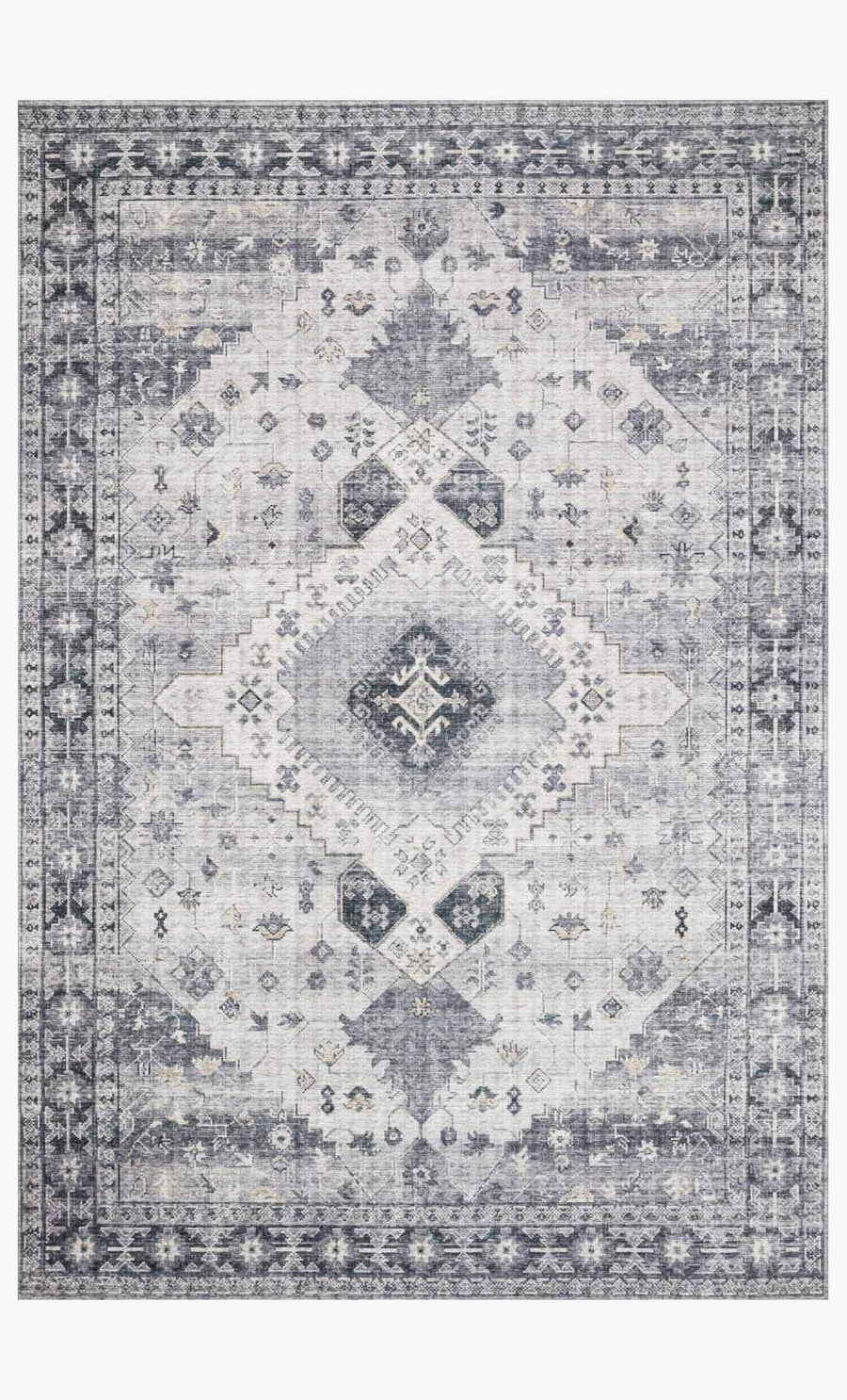Silver and grey vintage inspired rug with cream accents.