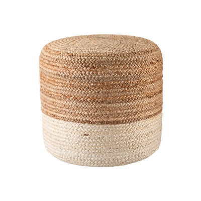 A chic, coastal, bohemian styled jute pouf / ottoman, with dual-toned jute. Jute colours are antique white and natural.