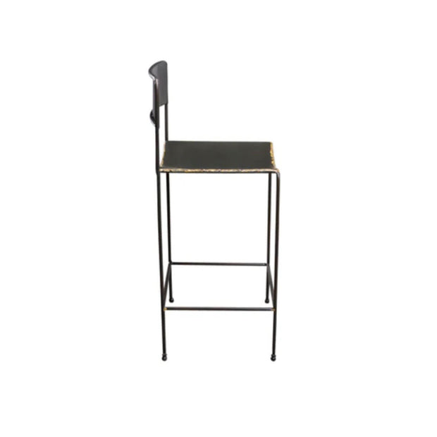 Side view of the hot rolled steel bar stool with rounded seat and back.
