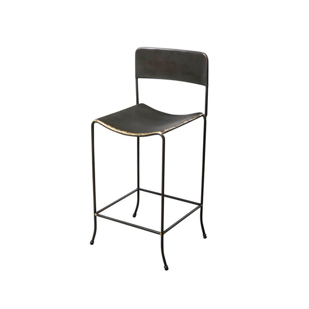 Modern counter stool with a rounded seat and back and brass edge details.