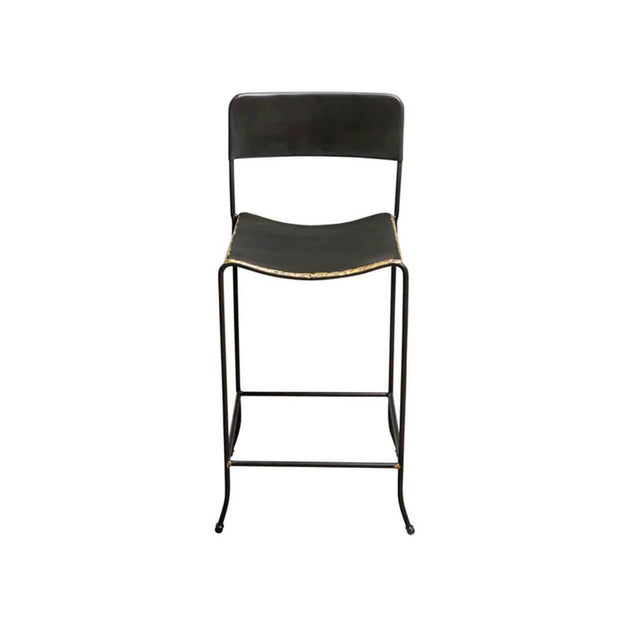 The Salem Stool is made from a hand-bent iron rod and hand-finished hot rolled steel wrap with brass edge detail.