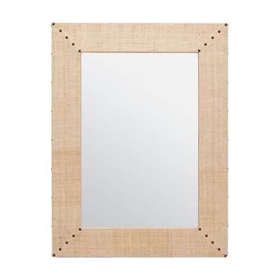 The Marikina Mirror in a bleached raffia finish with contrasting grommet detail.