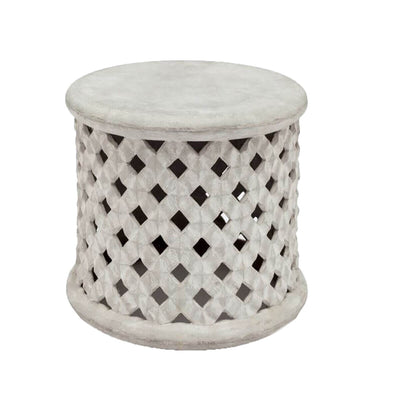 The Nithburg Stool is made of concrete and inspired by a traditional Indian stool, perfect for outdoors.