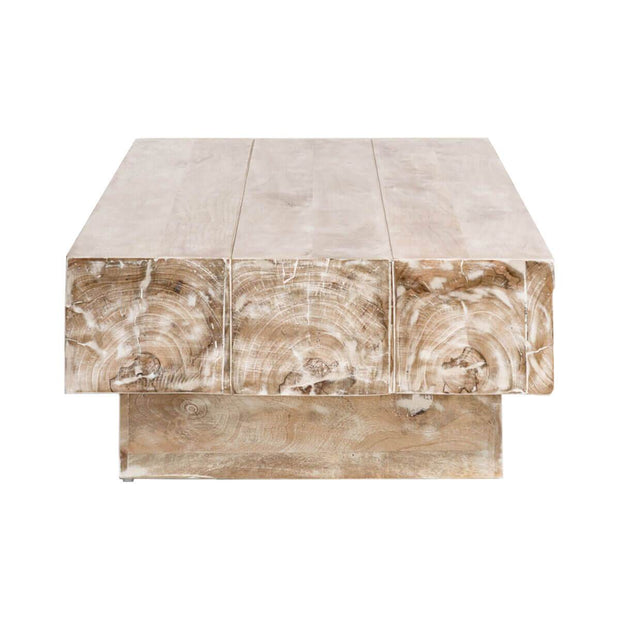 Solid wood coffee table with a rectangular shape and a rustic look.