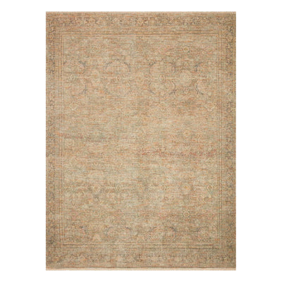 Poly-blend rug with gold and beige palette.