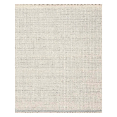 Incredibly soft area rug made of wool blended with polyester and cotton, and composed of misty grey tones.